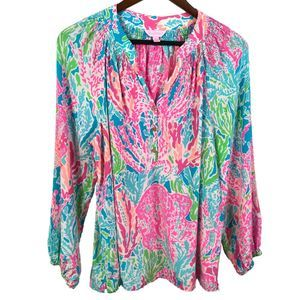 Lilly Pulitzer Womens Elsa Silk Blouse